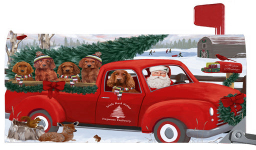 Magnetic Mailbox Cover Christmas Santa Express Delivery Irish Red Setters Dog MBC48327