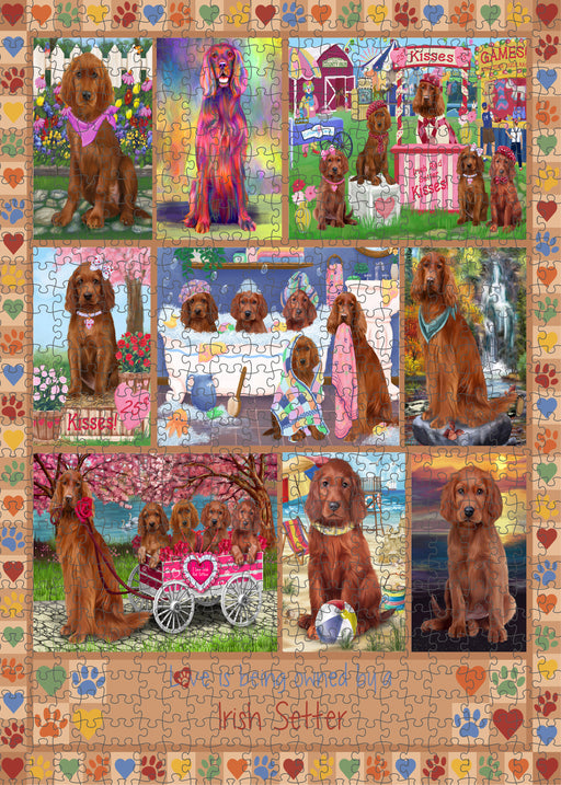 Love is Being Owned Irish Setter Dog Beige Puzzle with Photo Tin PUZL98476