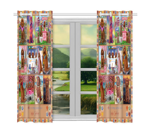 Love is Being Owned Irish Setter Dog Beige Window Curtain