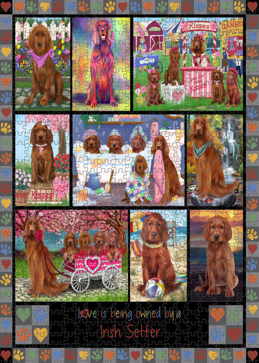 Love is Being Owned Irish Setter Dog Grey Puzzle with Photo Tin PUZL98480