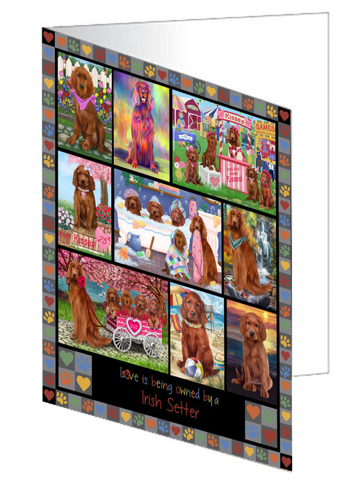 Love is Being Owned Irish Setter Dog Grey Greeting Card GCD77369