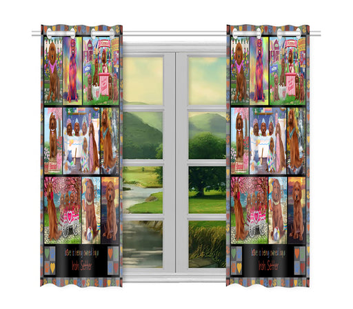 Love is Being Owned Irish Setter Dog Grey Window Curtain