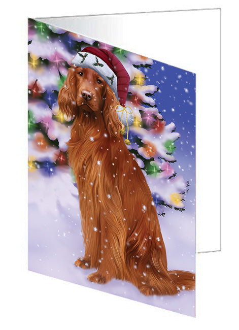 Winterland Wonderland Irish Setter Dog In Christmas Holiday Scenic Background Note Card NCD65315
