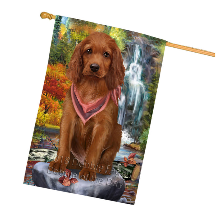 Scenic Waterfall Irish Setter Dog House Flag FLG52038