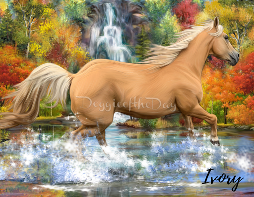 Custom Digital Painting Art Photo Personalized Horse in Waterfall Background