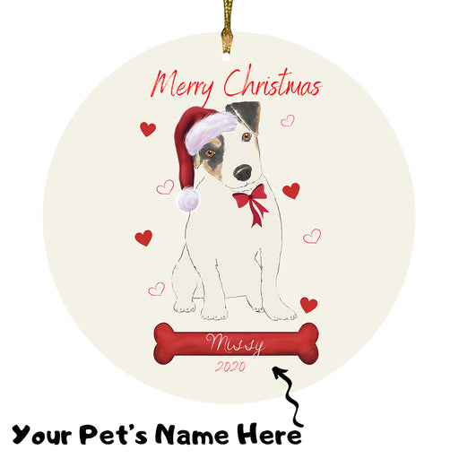 Personalized Merry Christmas  Jack Russell Terrier Dog Christmas Tree Round Flat Ornament RBPOR58968