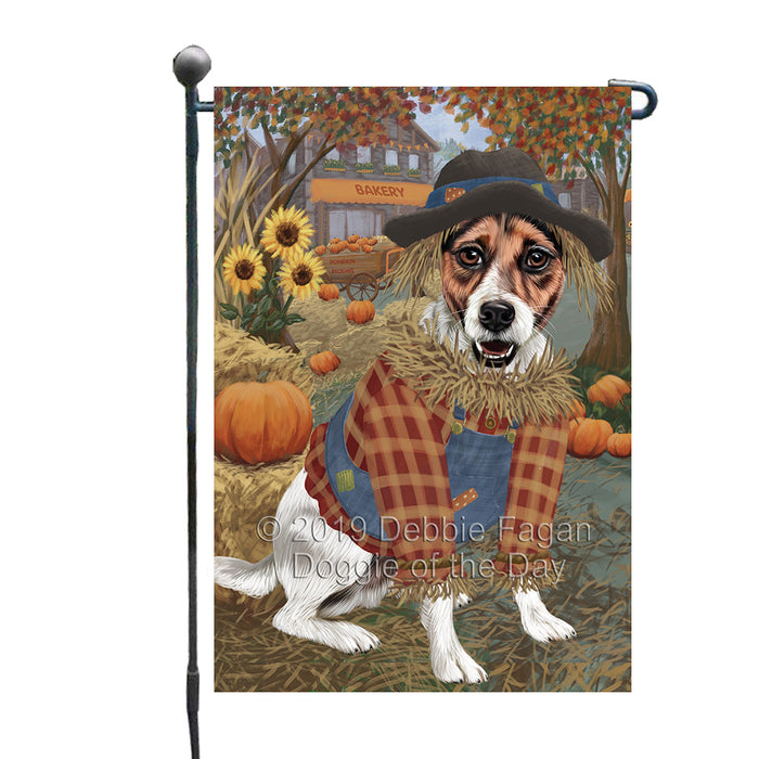 Halloween 'Round Town And Fall Pumpkin Scarecrow Both Jack Russell Terrier Dogs Garden Flag GFLG65666