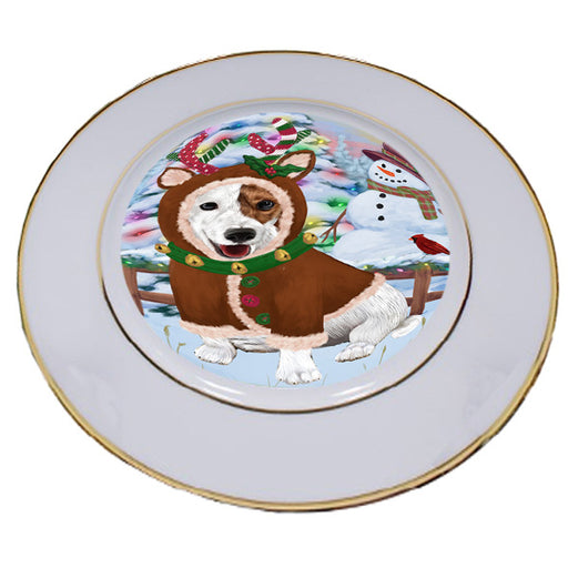 Christmas Gingerbread House Candyfest Jack Russell Terrier Dog Porcelain Plate PLT54716
