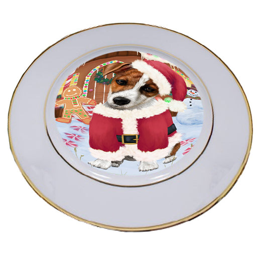 Christmas Gingerbread House Candyfest Jack Russell Terrier Dog Porcelain Plate PLT54717