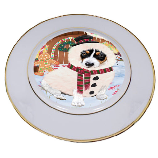 Christmas Gingerbread House Candyfest Jack Russell Terrier Dog Porcelain Plate PLT54718