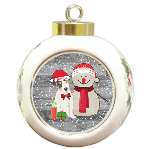 Custom Personalized Snowy Snowman and Jack Russell Terrier Dog Christmas Round Ball Ornament