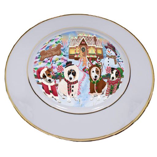 Holiday Gingerbread Cookie Shop Jack Russell Terriers Dog Porcelain Plate PLT54757