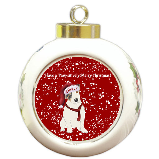 Custom Personalized Pawsitively Jack Russell Terrier Dog Merry Christmas Round Ball Ornament