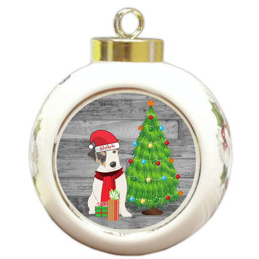 Custom Personalized Jack Russell Terrier Dog With Tree and Presents Christmas Round Ball Ornament