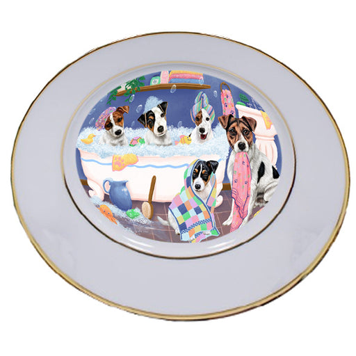 Rub A Dub Dogs In A Tub Jack Russell Terriers Dog Porcelain Plate PLT55146