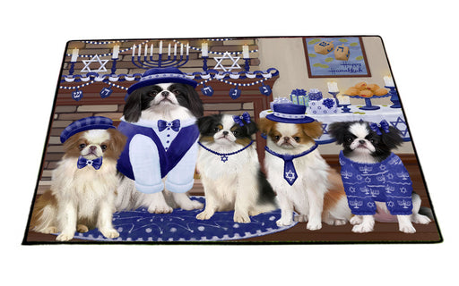 Happy Hanukkah Family Japanese Chin Dogs Floormat FLMS55555