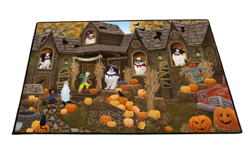 Haunted House Halloween Trick or Treat Japanese Chin Dogs Floormat FLMS55651