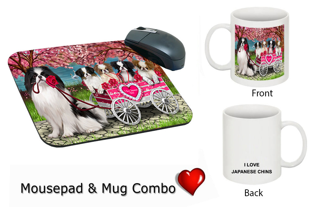 I Love Japanese Chin Dogs in a Cart Mug & Mousepad Combo Gift Set MPC52511