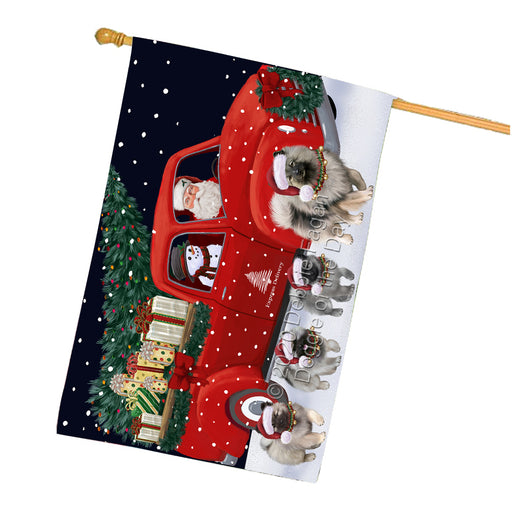 Christmas Express Delivery Red Truck Running Keeshond Dogs House Flag FLG66527