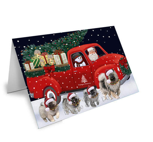 Christmas Express Delivery Red Truck Running Keeshond Dogs Greeting Card GCD75155