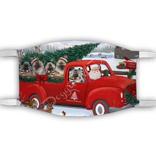 Christmas Santa Express Delivery Red Truck Keeshond Dogs Face Mask FM48451
