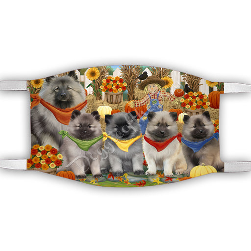 Fall Festive Harvest Time Gathering  Keeshond Dogs Face Mask FM48548