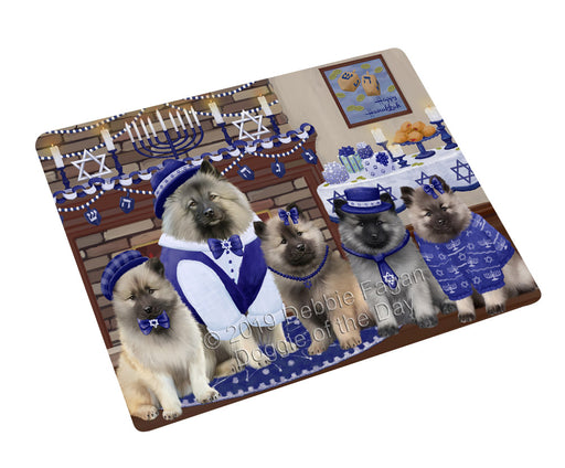 Happy Hanukkah Family and Happy Hanukkah Both Keeshond Dogs Large Refrigerator / Dishwasher Magnet RMAG105534