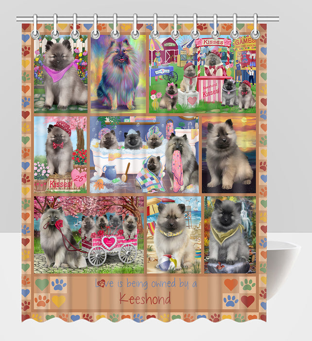 Love is Being Owned Keeshond Dog Beige Shower Curtain