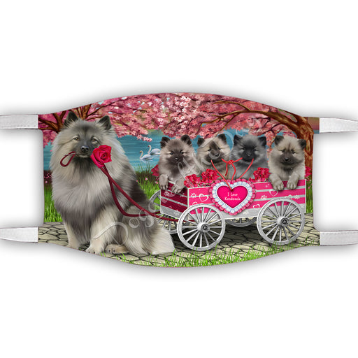 I Love Keeshond Dogs in a Cart Face Mask FM48157