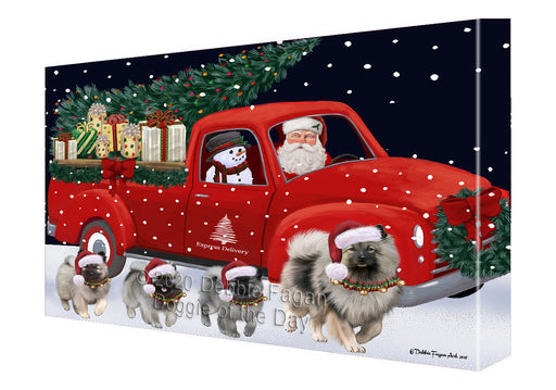 Christmas Express Delivery Red Truck Running Keeshond Dogs Canvas Print Wall Art Décor CVS146141
