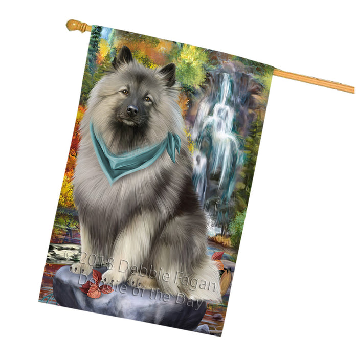 Scenic Waterfall Keeshond Dog House Flag FLG52046