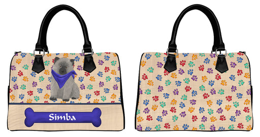 Custom Personalized Blue Paw Print Keeshond Dog Euramerican Tote Bag Keeshond Dog Boston Handbag
