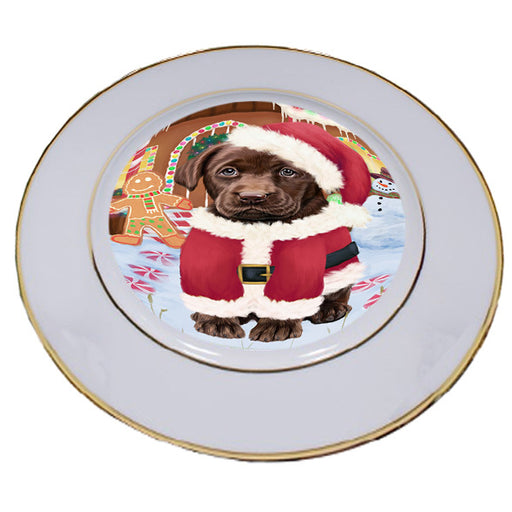 Christmas Gingerbread House Candyfest Labrador Retriever Dog Porcelain Plate PLT54725