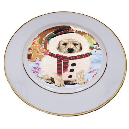 Christmas Gingerbread House Candyfest Labrador Retriever Dog Porcelain Plate PLT54726