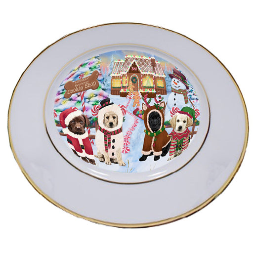 Holiday Gingerbread Cookie Shop Labrador Retrievers Dog Porcelain Plate PLT54759