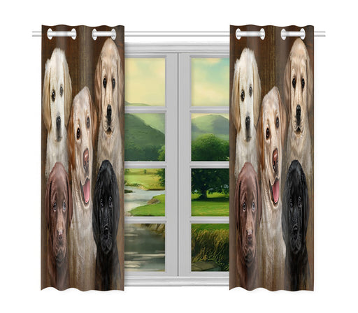 Rustic Labradore Dogs Window Curtain