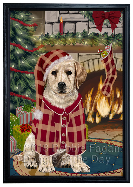 The Stocking was Hung Labrador Dog Framed Canvas Print Wall Art FCVS177999