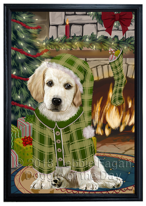 The Stocking was Hung Labrador Dog Framed Canvas Print Wall Art FCVS178016