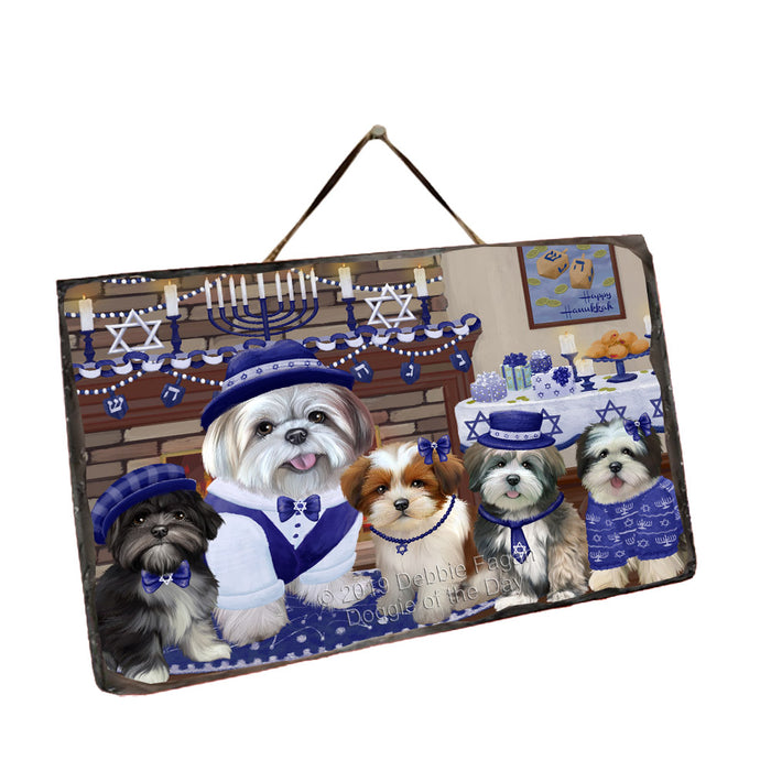 Happy Hanukkah Family and Happy Hanukkah Both Lhasa Apso Dogs Wall Décor Hanging Photo Slate SLTH53390