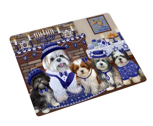 Happy Hanukkah Family and Happy Hanukkah Both Lhasa Apso Dogs Large Refrigerator / Dishwasher Magnet RMAG105546