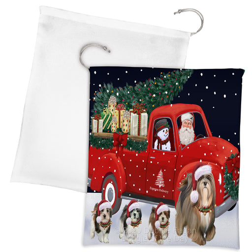 Christmas Express Delivery Red Truck Running Lhasa Apso Dogs Drawstring Laundry or Gift Bag LGB48909
