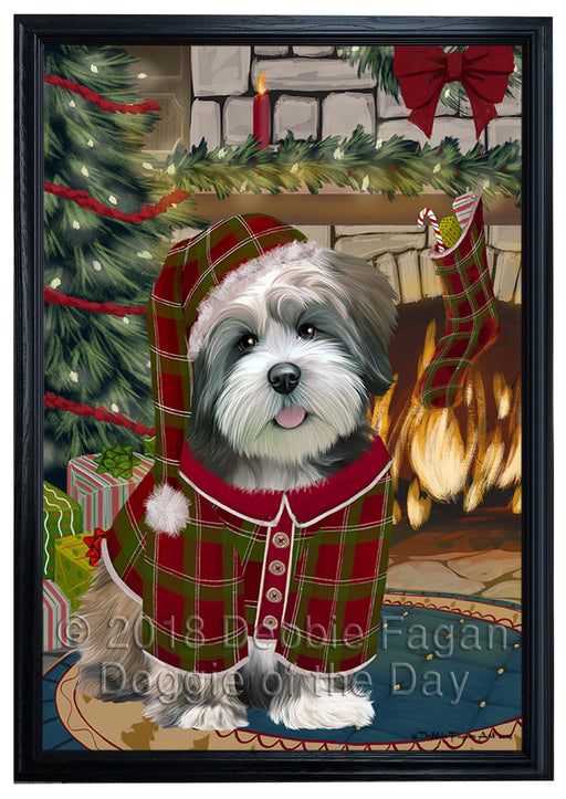 The Stocking was Hung Lhasa Apso Dog Framed Canvas Print Wall Art FCVS178033