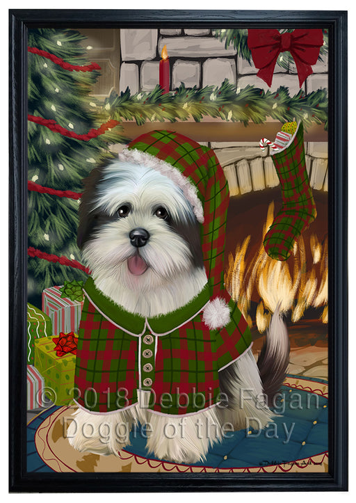The Stocking was Hung Lhasa Apso Dog Framed Canvas Print Wall Art FCVS178050