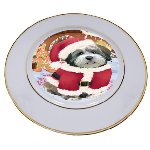 Christmas Gingerbread House Candyfest Lhasa Apso Dog Porcelain Plate PLT54729