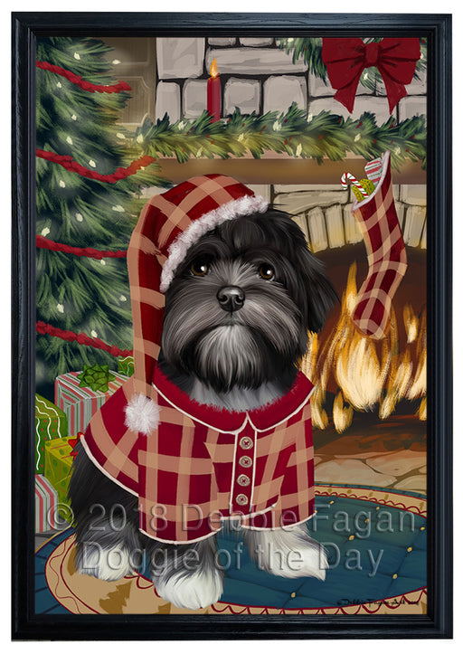 The Stocking was Hung Lhasa Apso Dog Framed Canvas Print Wall Art FCVS178067