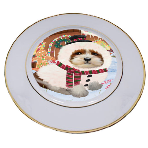 Christmas Gingerbread House Candyfest Lhasa Apso Dog Porcelain Plate PLT54730