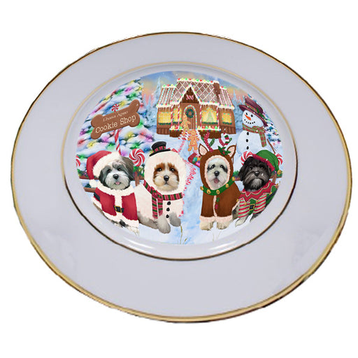 Holiday Gingerbread Cookie Shop Lhasa Apsos Dog Porcelain Plate PLT54760