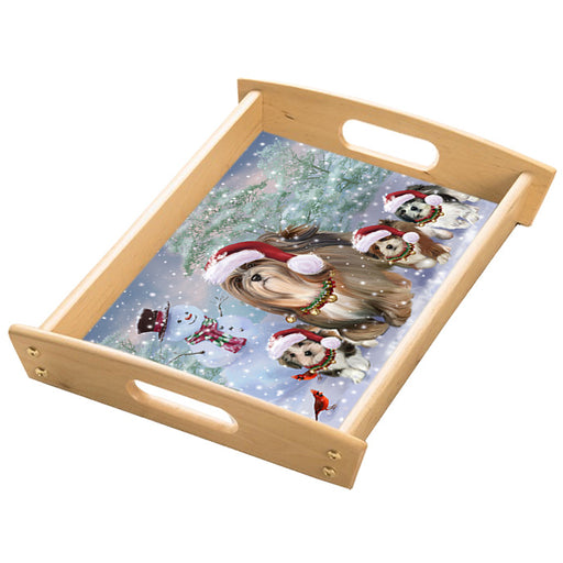 Christmas Running Family Lhasa Apso Dogs Wood Serving Tray with Handles Natural TRA49855