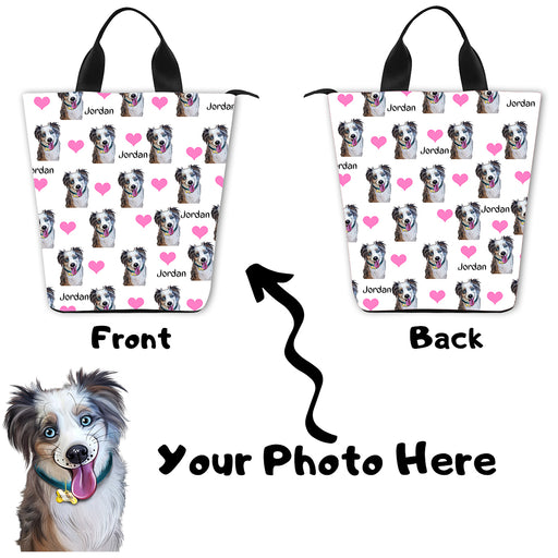 Custom Add Your Photo Here PET Dog Cat Photos on Nylon Lunch Tote Bag