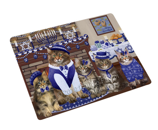 Happy Hanukkah Family and Happy Hanukkah Both Maine Coon Cats Large Refrigerator / Dishwasher Magnet RMAG105552
